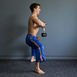 Step 3: At the bottom of the motion, squeeze your glutes and drive through your heels to return to standing.