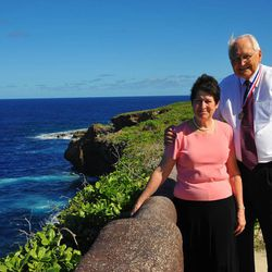 Elder L. Tom Perry of the Quorum of the Twelve Apostles and his wife, Barbara, visit Guam in December 2010, where he organized Guam's first stake.