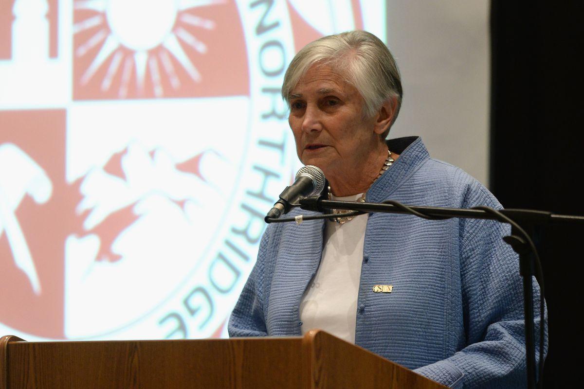 Diane Ravitch speaks at California State University Northridge. (Photo by Michael Buckner/Getty Images)