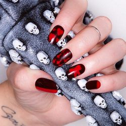 """Red Layered Nails by <a href=""""http://instagram.com/jeanniev"""">Jeannie Vincent</a>"""