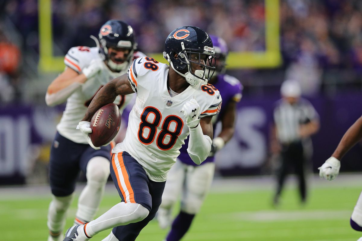 Riley Ridley had three receptions for 54 yards against the Vikings in the season finale in 2019, including a 32-yard gain on fourth-and-nine that led to Eddy Pineiro's winning field goal.
