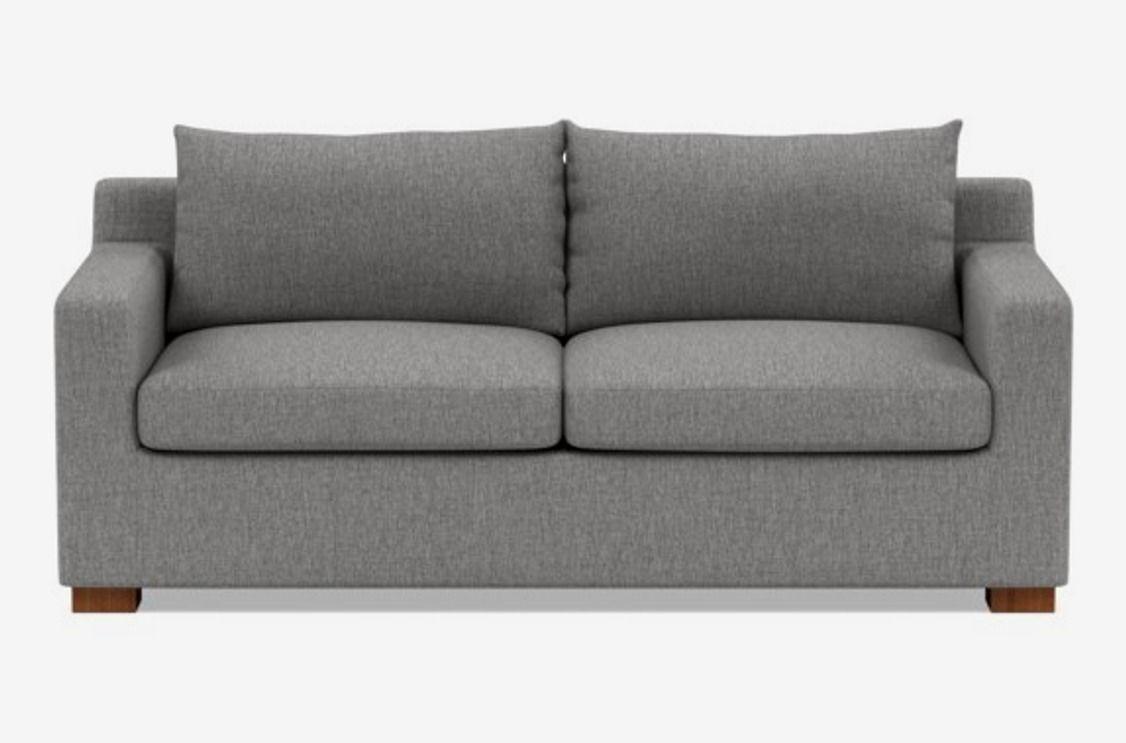 Gray two-seat sofa.