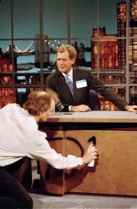 """Bill Murray customizes Letterman's desk on the first """"Late Show"""" in 1993. 