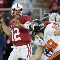 FOR USE AS DESIRED WITH NFL DRAFT STORIES - FILE - In this Nov. 27, 2010, file photo, Stanford quarterback Andrew Luck (12) throws a pass during the first quarter of an NCAA college football game against Oregon State in Stanford, Calif. Luck is a top prospect in the upcoming NFL football draft.