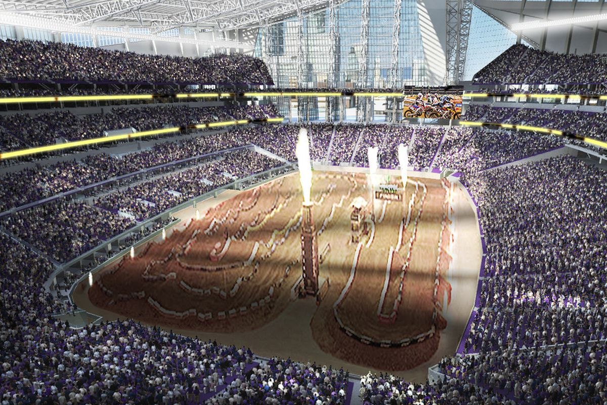 Pictured: An old rendering of the Vikings' stadium. Hey, it has fire in it. Sort of.