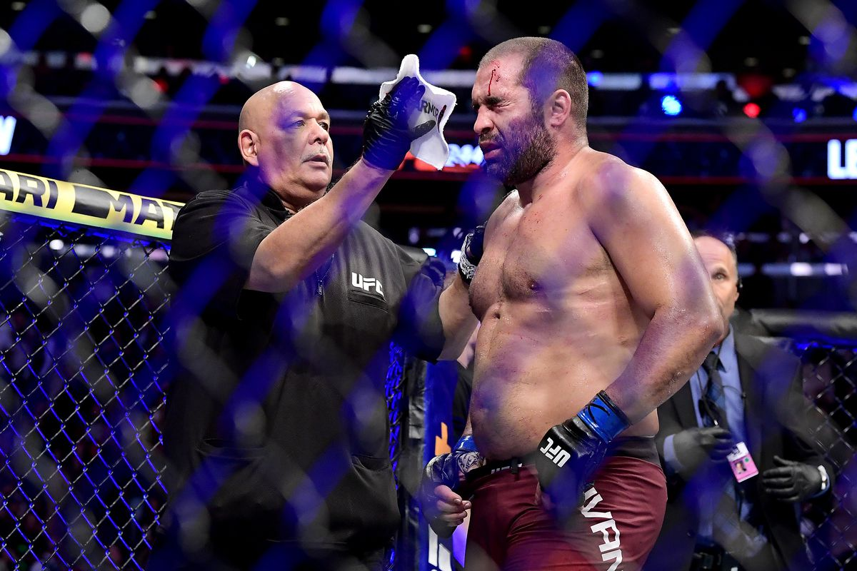Blagoy Ivanov of Bulgaria is toweled off following the Heavyweight bout against Derrick Lewis of the United States during UFC 244 at Madison Square Garden on November 02, 2019 in New York City.