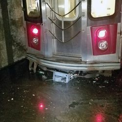 Subway tracks at Brooklyn's Newkirk Avenue stations filled with water during Wednesday night's flash flood. Sept. 1, 2021.