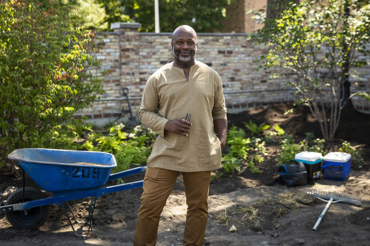 Artist and Rebuild Foundation's founder Theaster Gates at Kenwood Gardens, 6929 S. Kenwood Ave., on  Wednesday morning, Sept. 1, 2021. The vacant lot is being turned into a space intended for food, art, music and performance.