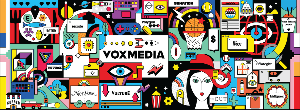 Full illustration tableau with Vox Media network logos surrounded by objects that would be associated with their journalism and products