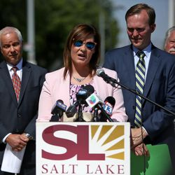 South Salt Lake Mayor Cherie Wood speaks at a press conference about a double track expansion to decrease wait times on the S-Line during a press conference in South Salt Lake on Tuesday, June 27, 2017.