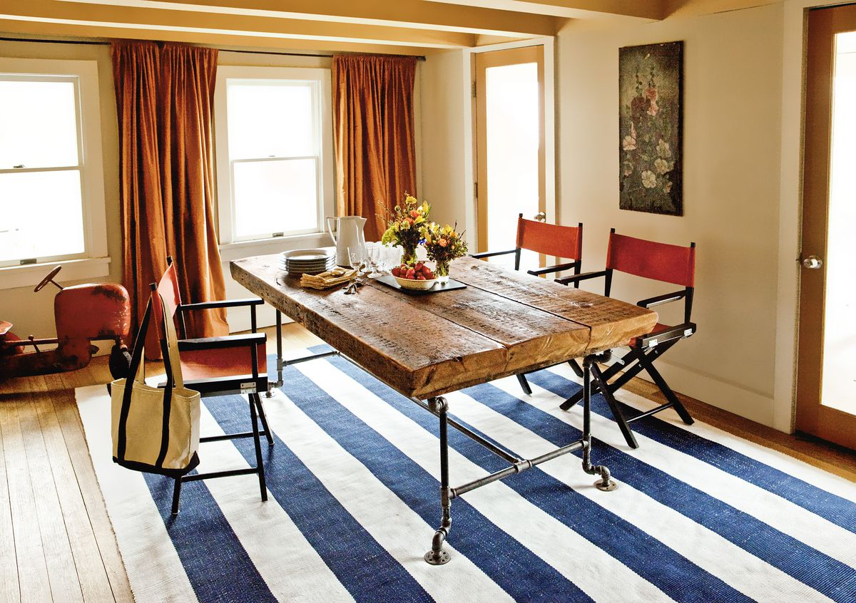 Salvaged beam and pipe dining table.