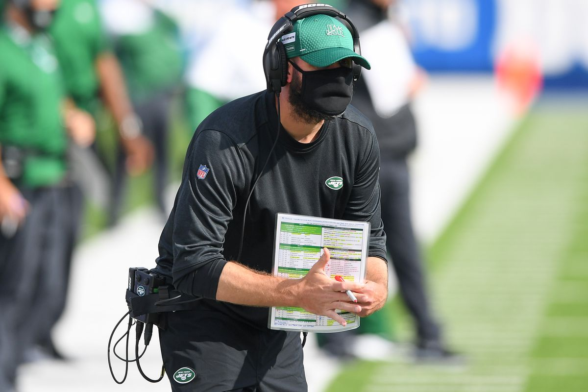 New York Jets head coach Adam Gase gestures for a time-out against the Buffalo Bills during the fourth quarter at Bills Stadium.