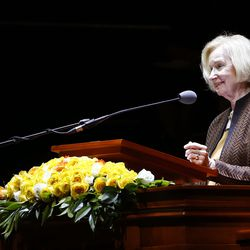 Sister Mary G. Cook speaks during a Latin America Ministry Tour devotional in Bogota, Colombia on Sunday, Aug. 25, 2019.