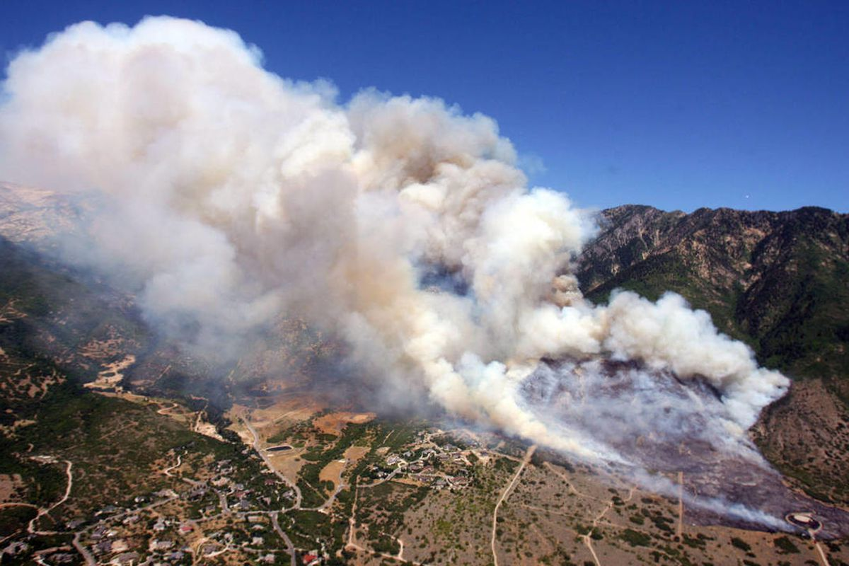 Crews work to stop a wildfire burning in Alpine Tuesday, July 3, 2012.