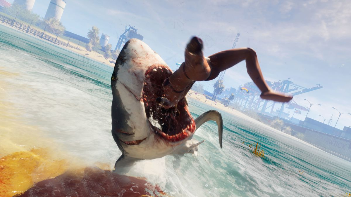 a shark leaping above the surface to consume a human, with an urban environment in the background