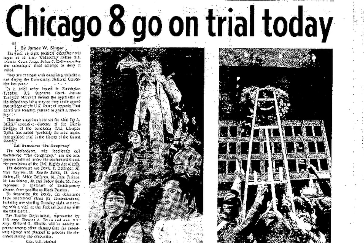 Screenshot of 'Chicago 8 go on trial today' as it appeared in the Chicago Sun-Times on Sept. 24, 1969.