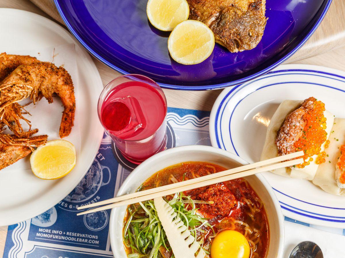 Smoked pork ramen and other dishes at Momofuku Noodle Bar