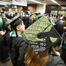 Utah Valley University graduate Brittany Harder lines up for commencement in Orem on Thursday, April 30, 2015.