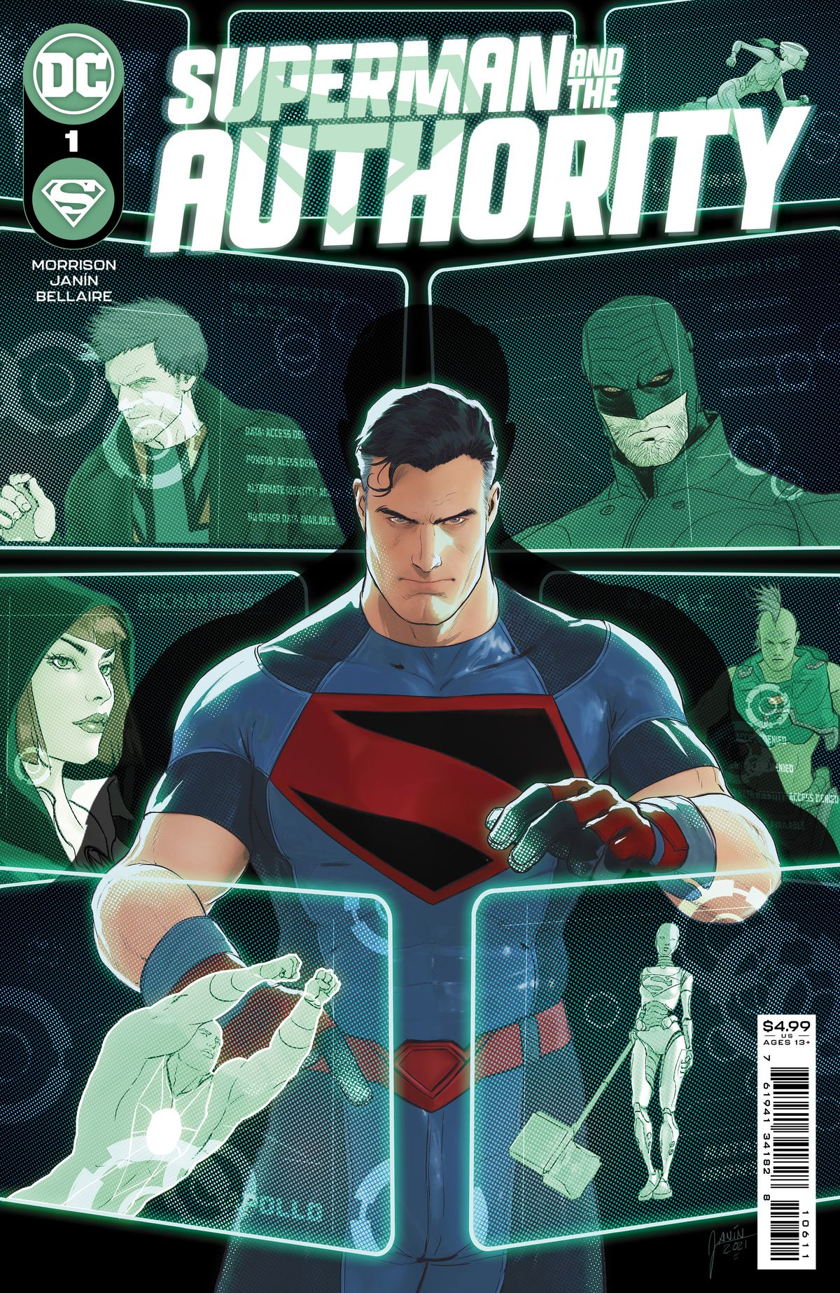 Superman inspects holographic images of various members of the Authority on the cover of Superman and the Authority #1, DC Comics (2021).