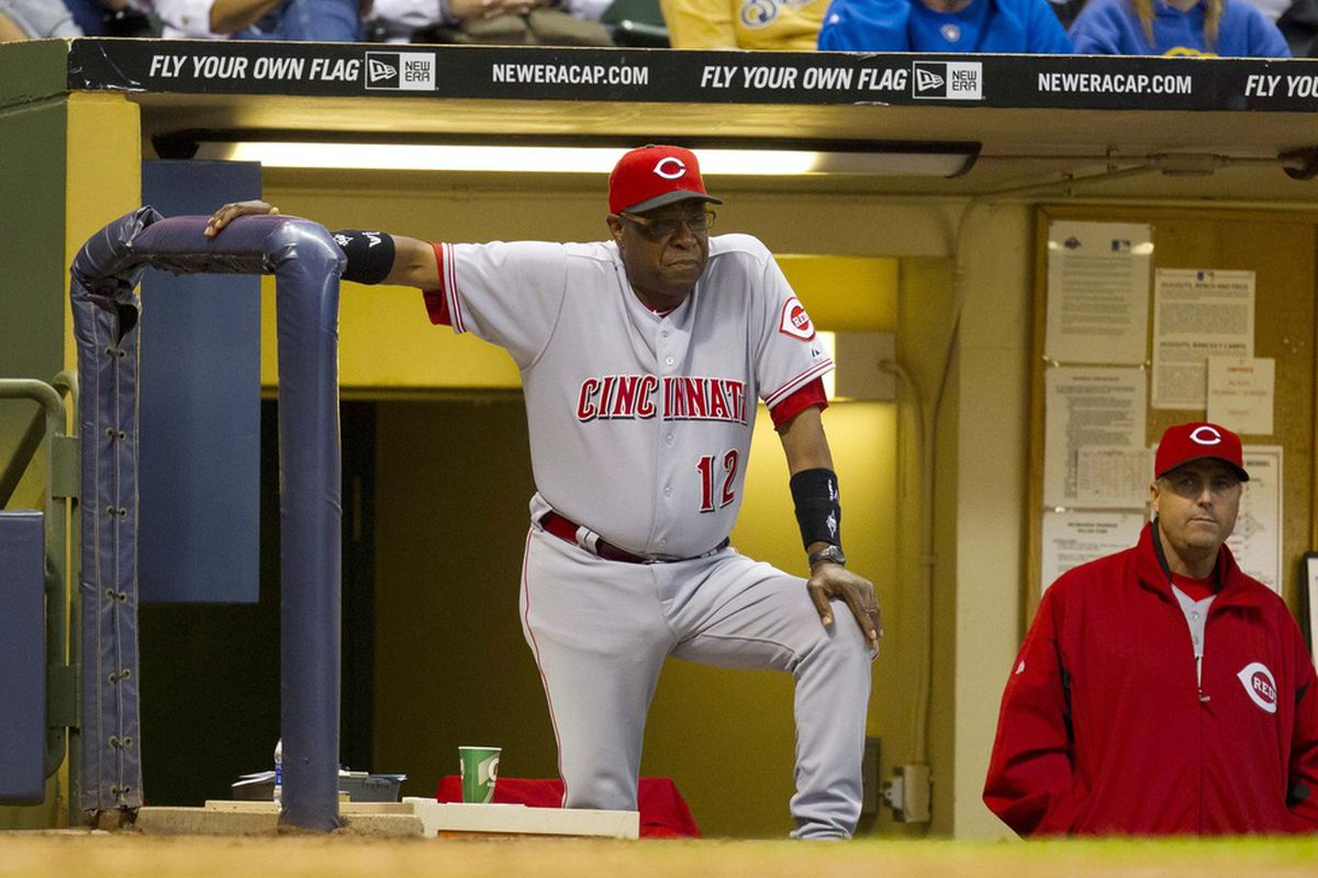 May 8, 2012: Milwaukee, WI, USA;  Cincinnati Reds manager Dusty Baker (12) looks on during the fourth inning against the Milwaukee Brewers at Miller Park.  Mandatory Credit: Jeff Hanisch-US PRESSWIRE