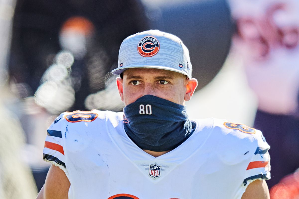 Jimmy Graham #80 of the Chicago Bears looks on during the second quarter of a game against the Jacksonville Jaguars at TIAA Bank Field on December 27, 2020 in Jacksonville, Florida