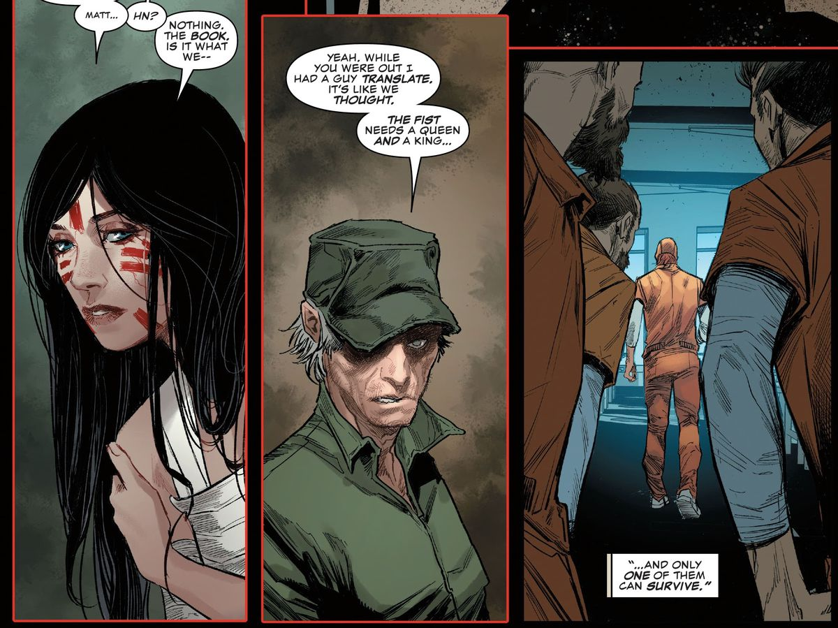 """""""The fist needs a queen and a king,"""" Stick tells Elektra, """"And only one of them can survive,"""" in Daredevil #1, Marvel Comics (2020)."""