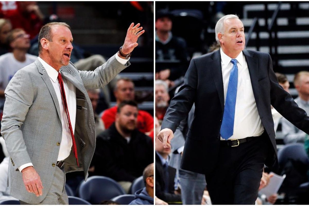 Utah's Larry Krystkowiak and BYU's Dave Rose coach during games on Saturday at Vivint Arena.
