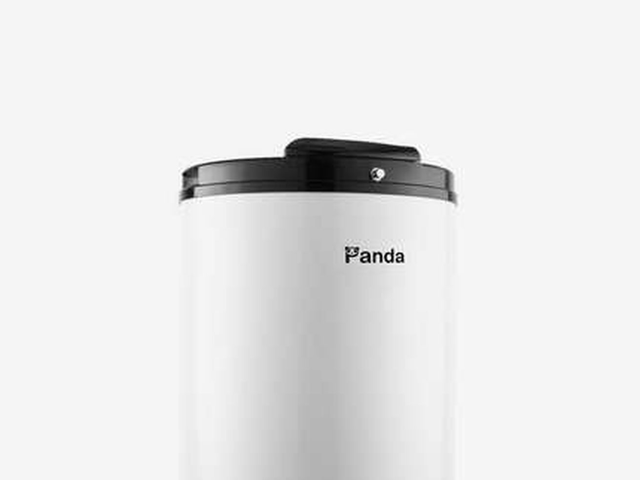 A white cylinder with black top and bottom.