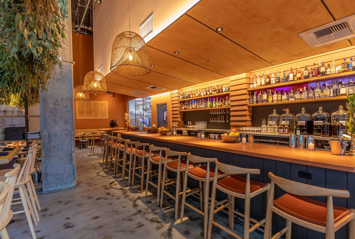 Bar area at Yapa in Little Tokyo with stools.