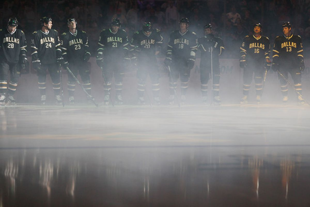 DALLAS - OCTOBER 14:  The Dallas Stars line up for team introductions before the season opening game against the Detroit Red Wings on October 14 2010 at the American Airlines Center in Dallas Texas.  (Photo by Elsa/Getty Images)
