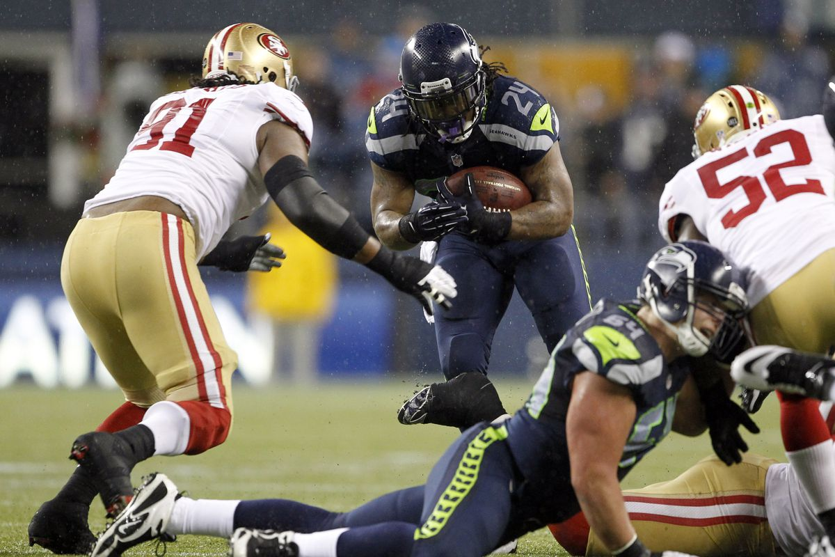 Shown above, Marshawn Lynch barreling through some other football team.