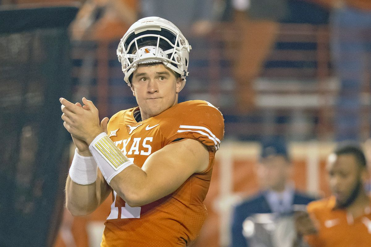 promo code 31665 a7180 Texas QB Sam Ehlinger suffered an AC contusion to his right ...