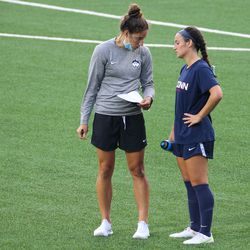 UConn volunteer assistant coach Courtney Hofer during the UMass Minutewomen vs the UConn Huskies at Morrone Stadium at Rizza Performance Center in an exhibition women's college soccer game in Storrs, CT, Monday, August 9, 2021.