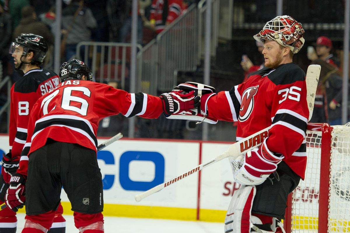 A Devil doubled-over thanking his goaltender is an appropriate image for how this game went.