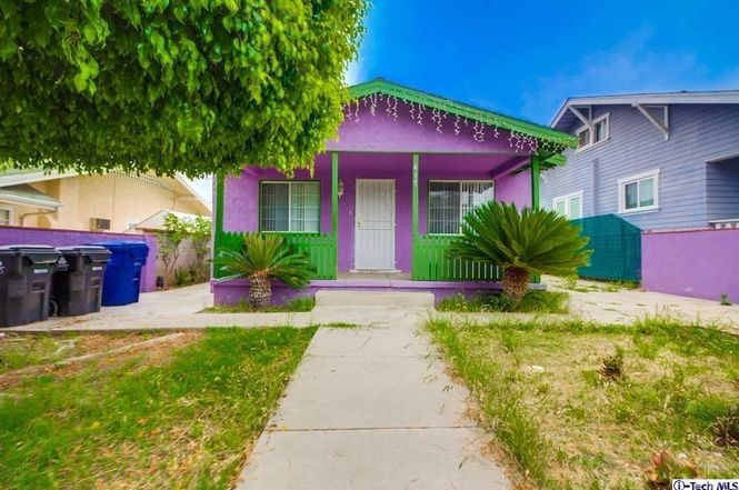 Green and purple-colored house