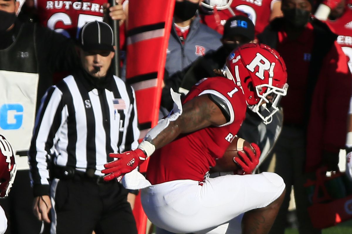 Isaih Pacheco #1 of the Rutgers Scarlet Knights leaps during the first quarter against the Indiana Hoosiers at SHI Stadium on October 31, 2020 in Piscataway, New Jersey.