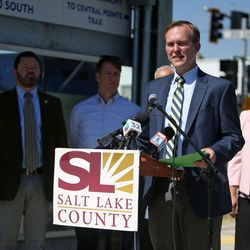 Salt Lake County Mayor Ben McAdams speaks at a press conference about a double track expansion to decrease wait times on the S-Line during a press conference in South Salt Lake on Tuesday, June 27, 2017.