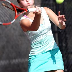 Scout Swenson of Rowland Hall competes against Erica Park of Waterford (not pictured) in the State 2A Tennis third seed singles tournament at Liberty Park in Salt Lake City Saturday, Sept. 29, 2012.