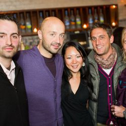Torrisi's Mario Carbone with wine wizard Joe Bastianich and assorted entourage.