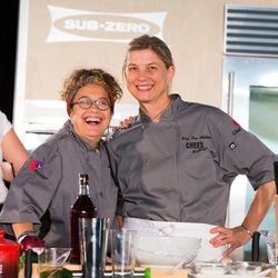 Susan Feniger and Mary Sue Milliken of Border Grill during their cooking demonstration. Photo: Erik Kabik