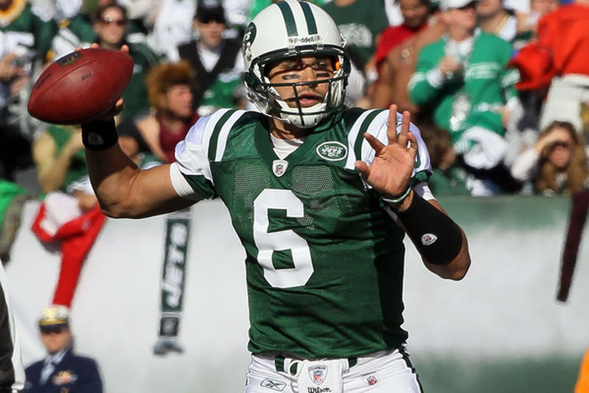 New york Jets quarterback <strong>Mark Sanchez</strong>.  (Photo by Jim McIsaac/Getty Images)