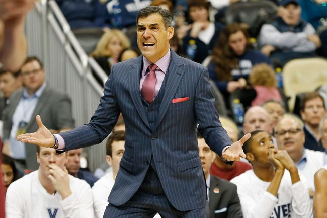 Jay Wright coaching the Villanova Wildcats during their loss to N.C. State in the opening weekend of the NCAA Tournament