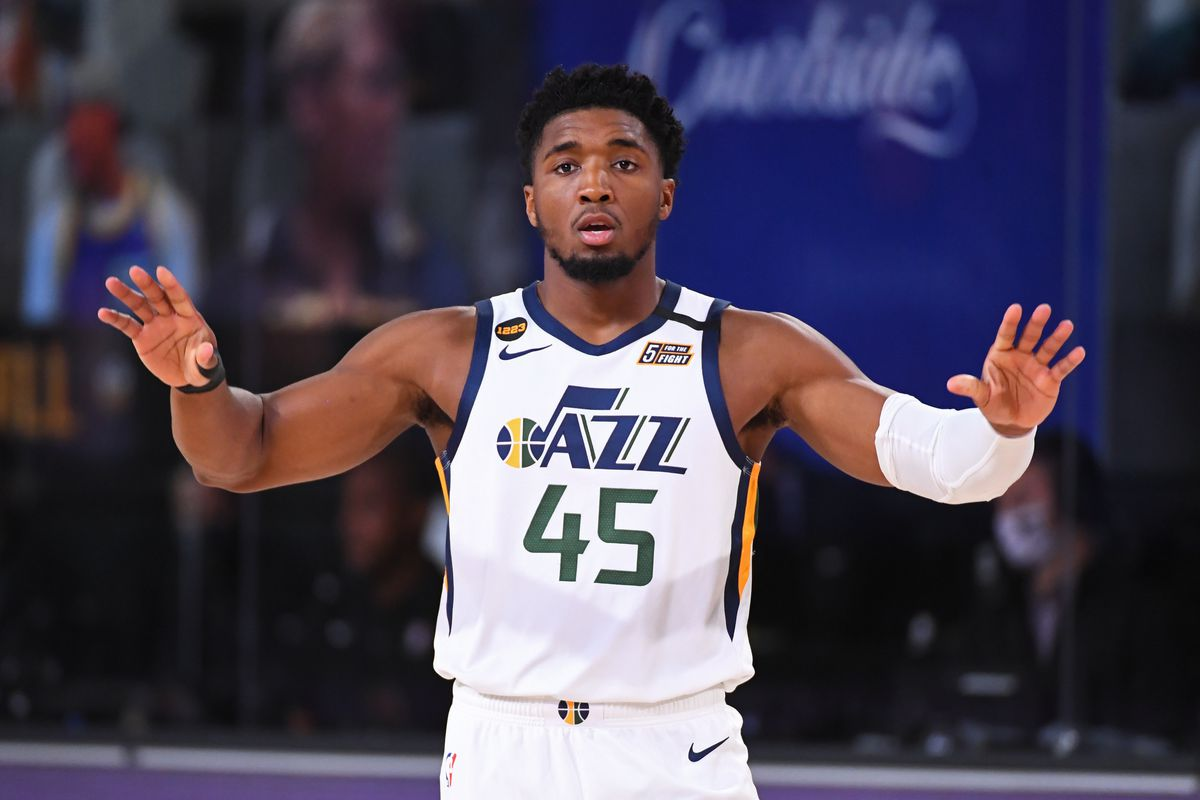 Donovan Mitchell of the Utah Jazz looks on during the game against the Denver Nuggets during Round One, Game Seven of the NBA Playoffs on September 1, 2020 at the AdventHealth Arena at ESPN Wide World Of Sports Complex in Orlando, Florida.