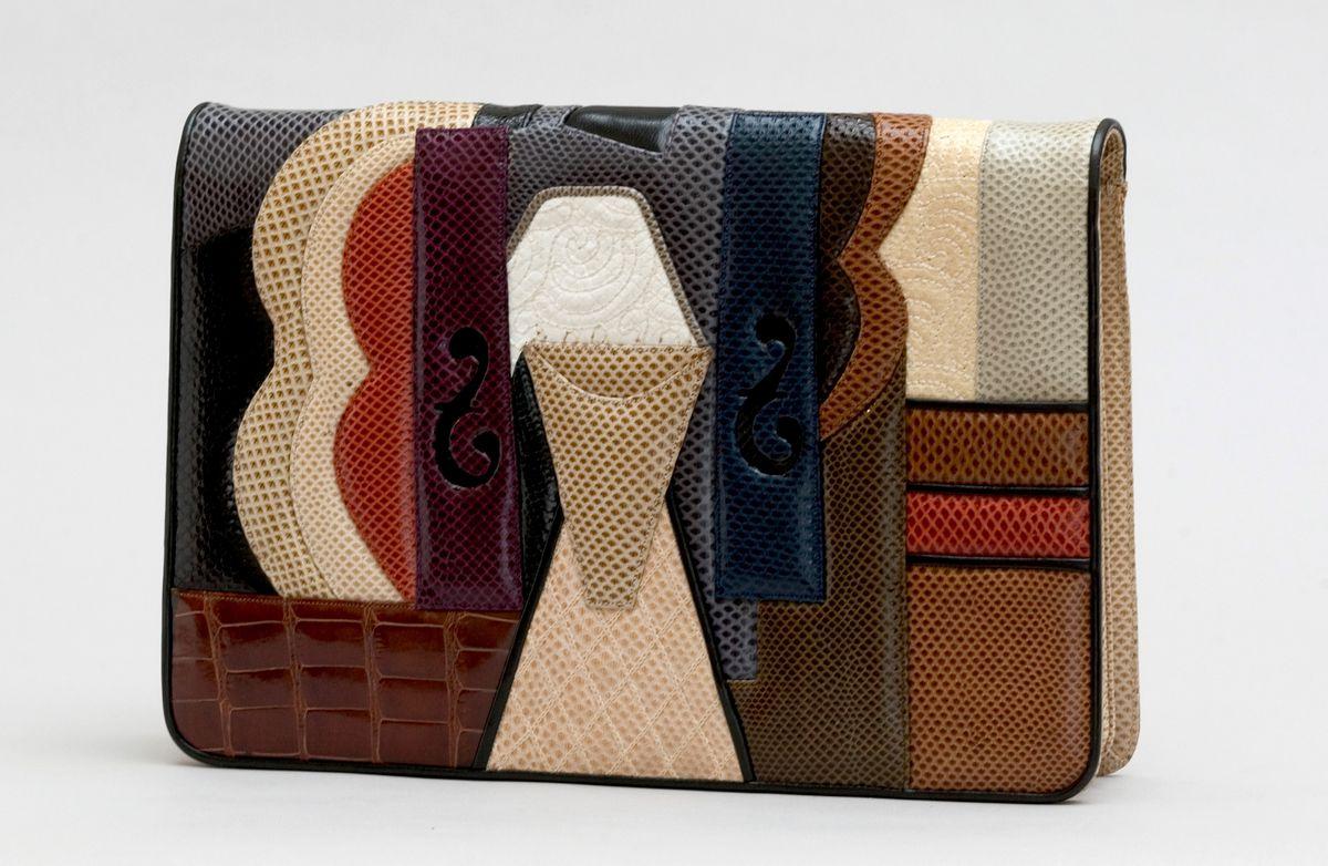 Multi-colored leather clutch.