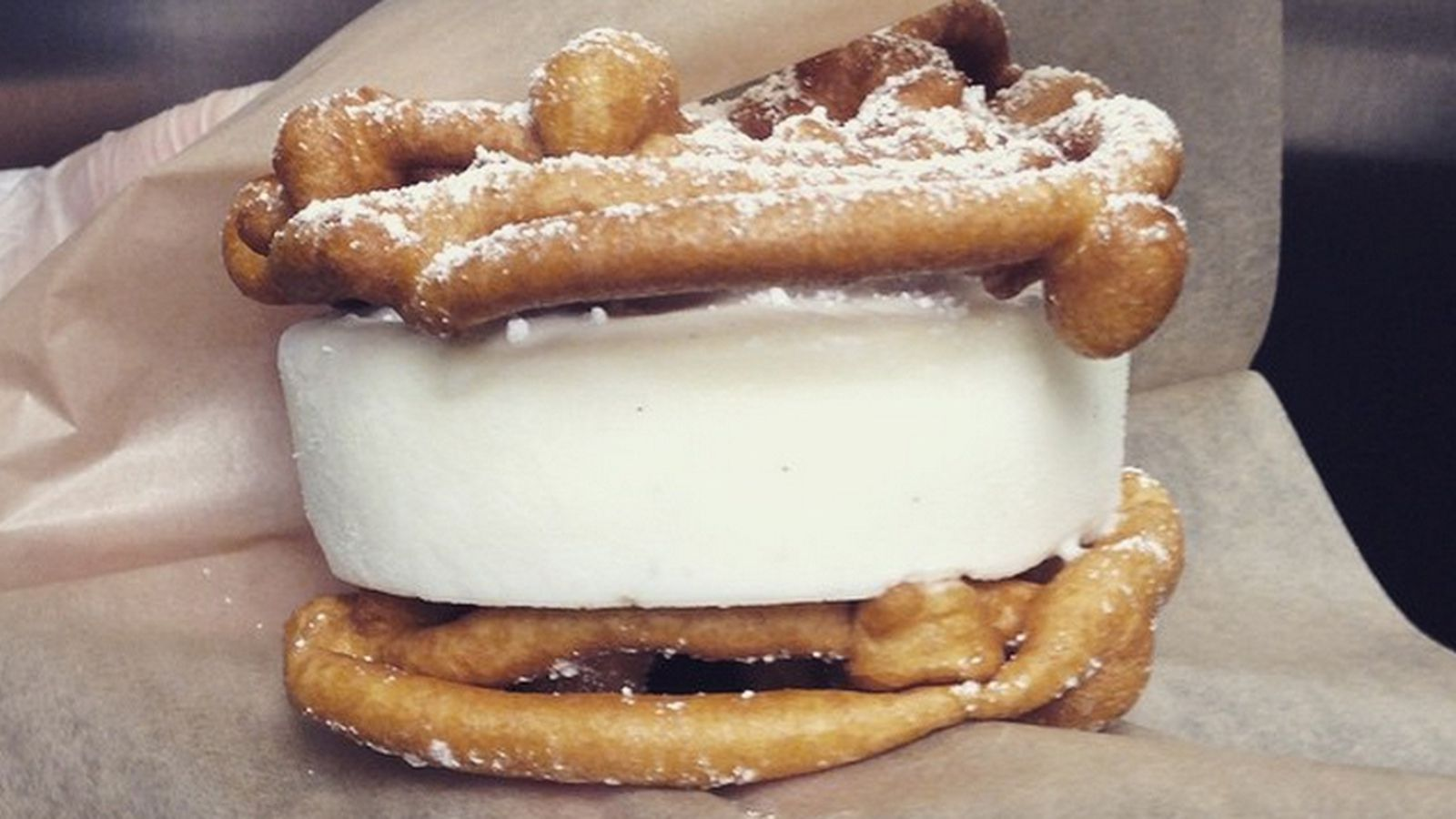 Funnel Cake Ice Cream Sandwich Atlanta