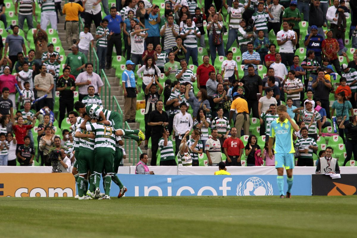 There was too much of that in Wednesday night's 6-1 (7-3 aggregate) loss to Santos Laguna (Photo by Hans Maximo Musielik/Getty Images)