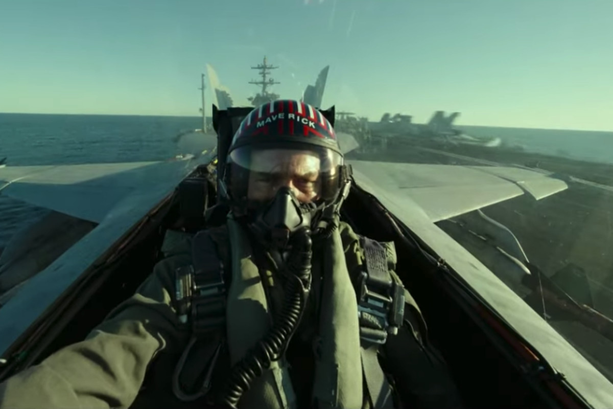 """Tom Cruise in a fighter plan in the new movie """"Top Gun: Maverick"""""""