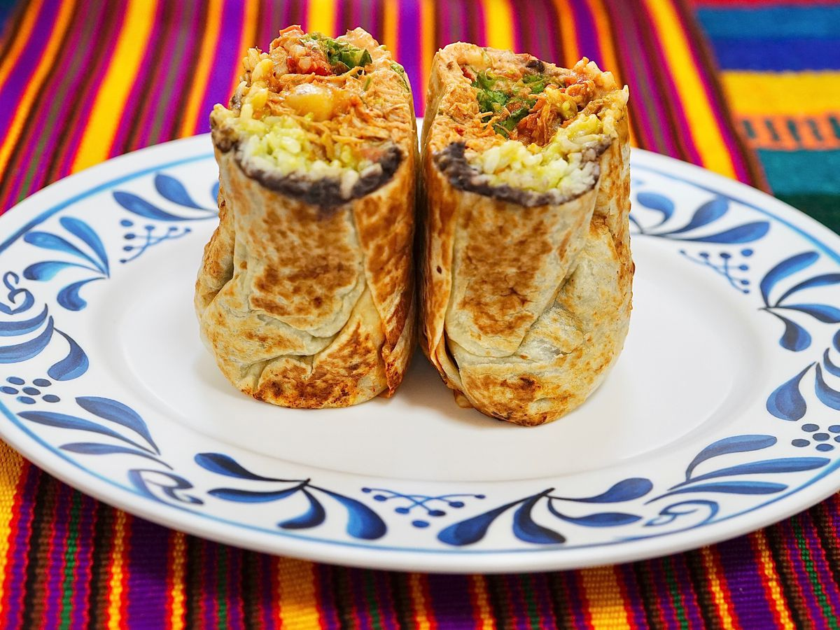 A sweet potato burrito from Muchas Gracias