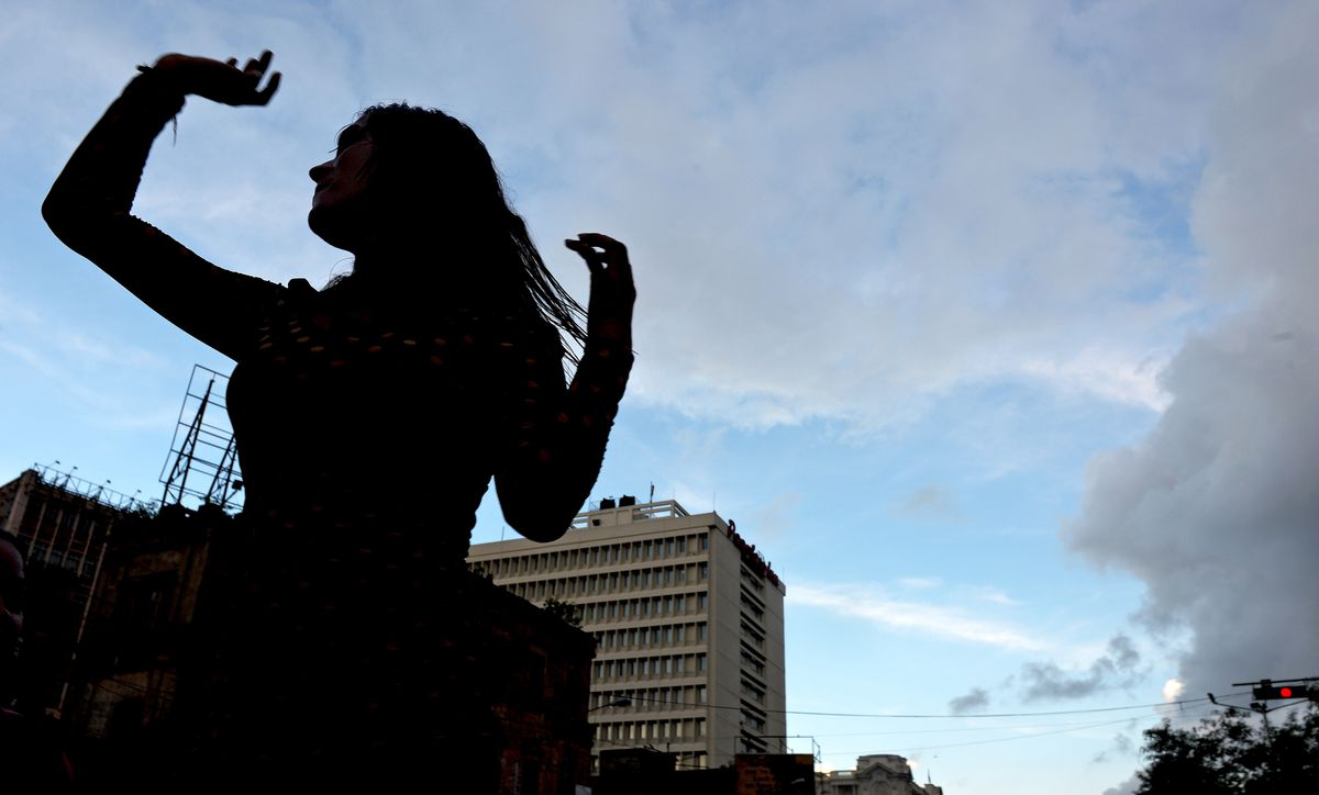 An Indian sex worker marches during a rally in Kolkata, India.