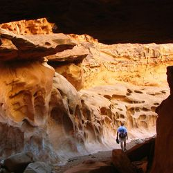 17. The holes in the rock look like small melting arches, flowing into the wash.  This hike is located in the San Rafael Swell, in Emery County. Photo by Steve Baker, Deseret News